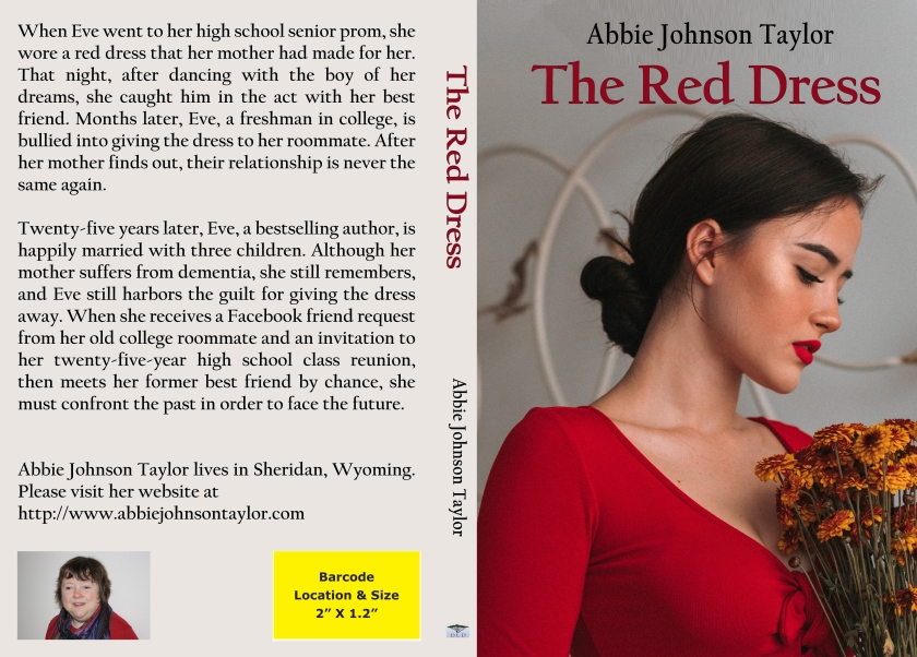 Front cover image contains: young, dark-haired girl wearing red dress. Back cover contains: synopsis, bio, and author photo.